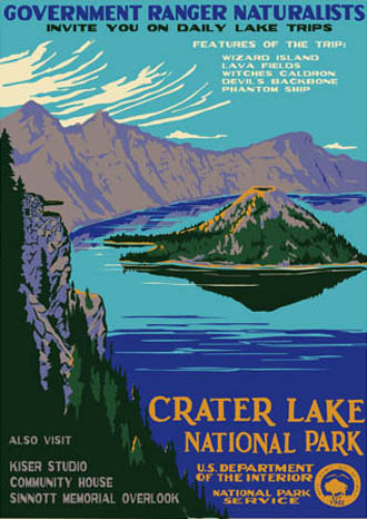 Contemporary Wpa Style Postcards Crater Lake National